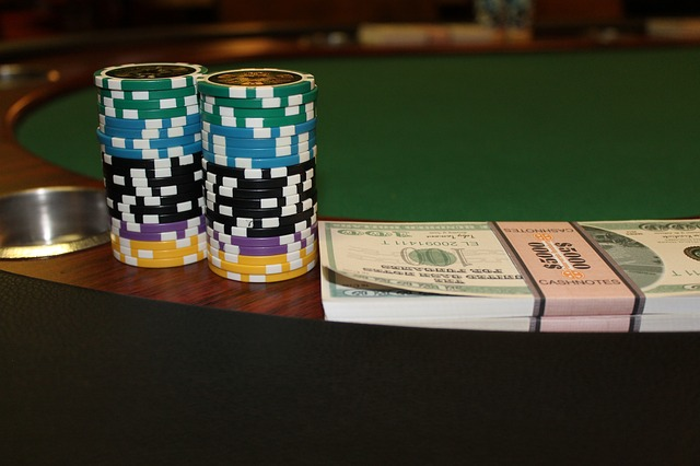 Types of poker games - chips and money stack